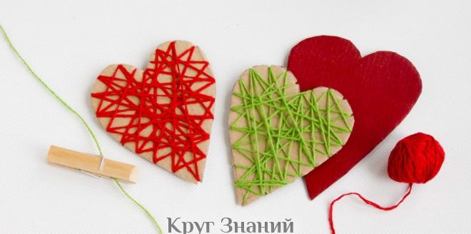 Как сделать сердечко из картона и ниток